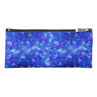 Galaxy crystal Blue polygonal facet pattern Pencil Case