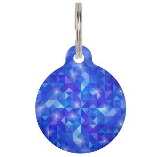 Galaxy crystal Blue polygonal facet pattern Pet Name Tag