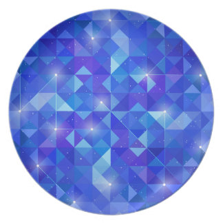 Galaxy crystal Blue polygonal facet pattern Plate