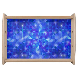 Galaxy crystal Blue polygonal facet pattern Serving Tray