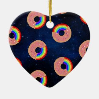 Galaxy Donut Rainbows Ceramic Ornament