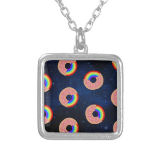 Galaxy Donut Rainbows Silver Plated Necklace