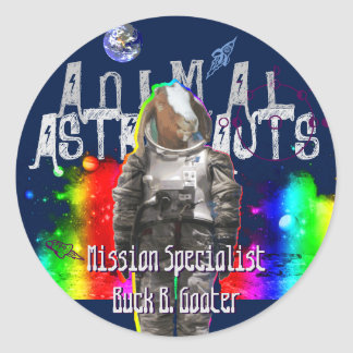 Galaxy Goat Astronaut in Space Classic Round Sticker