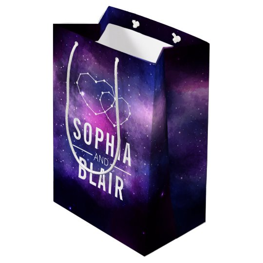 Galaxy Hearts Constellation Wedding Personalized Medium Gift Bag