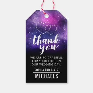 Galaxy Hearts Constellation Wedding Thank You Gift Tags