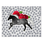 Galaxy Horse Black White Nebula Roses and Diamonds Poster