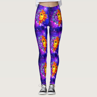 Galaxy leggings watercolor moon/sun
