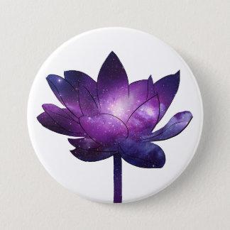 Galaxy Lotus Flower - white 3 Inch Round Button