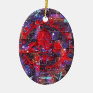 Galaxy Mixed Media Print Ceramic Oval Ornament