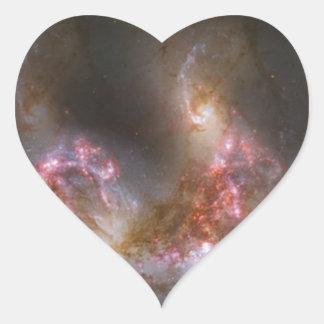 Galaxy Nebula Print Heart Sticker