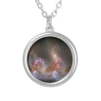 Galaxy Nebula Print Silver Plated Necklace