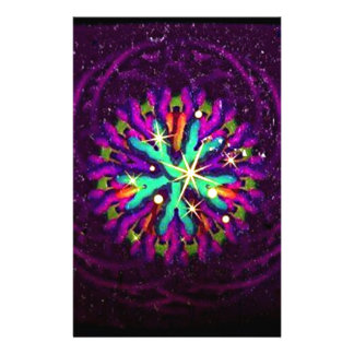 Galaxy of Purple Fancy Kaleidoscope Art Personalized Stationery