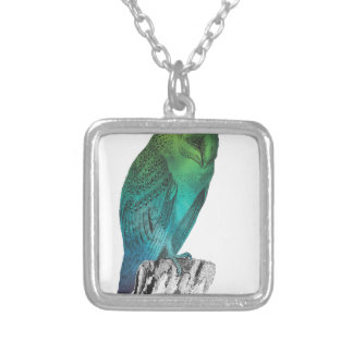 Galaxy owl 2 silver plated necklace