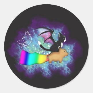 Galaxy pig ride classic round sticker
