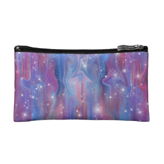 Galaxy pink beautiful night starry sky image makeup bags