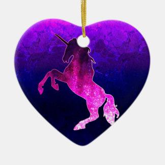 Galaxy pink beautiful unicorn sparkly image ceramic ornament