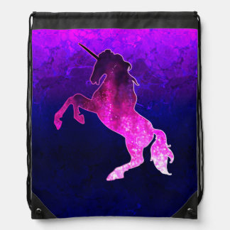 Galaxy pink beautiful unicorn sparkly image drawstring bag