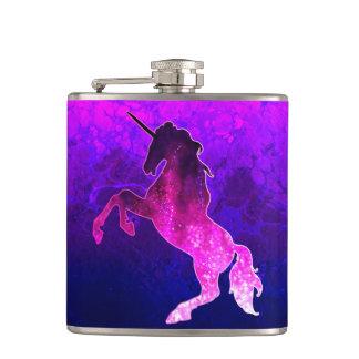 Galaxy pink beautiful unicorn sparkly image hip flask