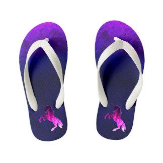Galaxy pink beautiful unicorn sparkly image kid's flip flops