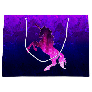 Galaxy pink beautiful unicorn sparkly image large gift bag
