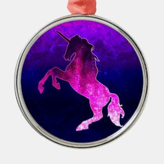 Galaxy pink beautiful unicorn sparkly image metal ornament