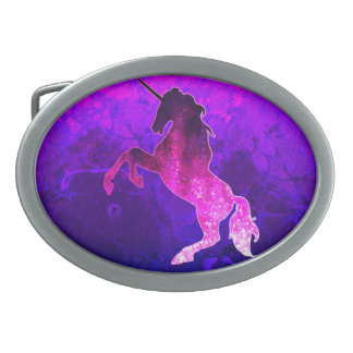 Galaxy pink beautiful unicorn sparkly image oval belt buckle