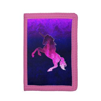 Galaxy pink beautiful unicorn sparkly image tri-fold wallets