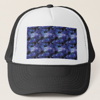 galaxy pixel art in blue trucker hat
