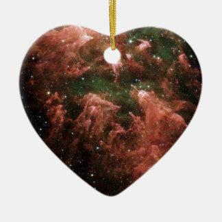 Galaxy Print Ceramic Heart Ornament