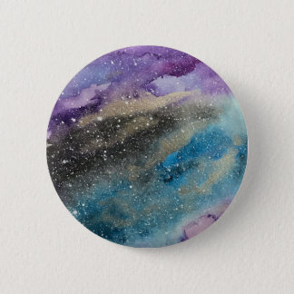 Galaxy Print Outer Space Watercolor Button