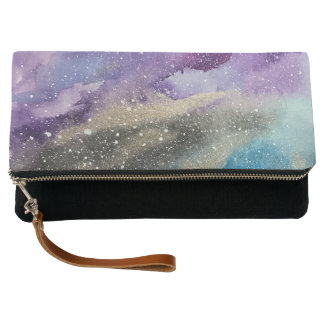 Galaxy Print Outer Space Watercolor Clutch