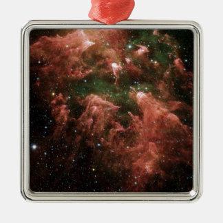 Galaxy Print Silver-Colored Square Ornament