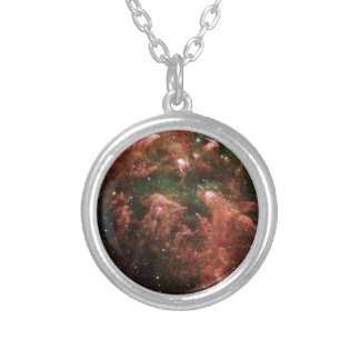 Galaxy Print Silver Plated Necklace
