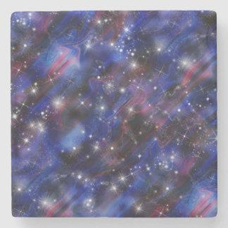 Galaxy purple beautiful night starry sky image stone coaster