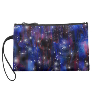 Galaxy purple beautiful night starry sky image wristlet clutch