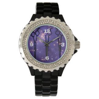 galaxy purple hair stylist hairstylist scissors wristwatches