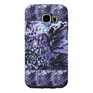 galaxy S6 tough case purple flowers w/border