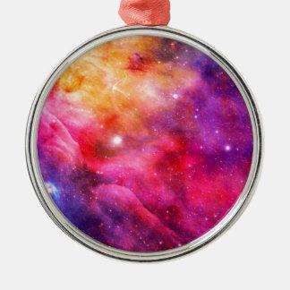 Galaxy Silver-Colored Round Ornament