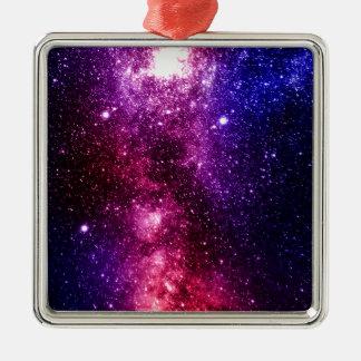 Galaxy Silver-Colored Square Ornament