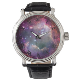 Galaxy space background with roman numerals watch