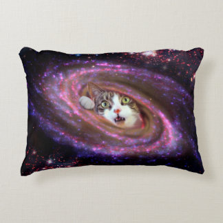 "Galaxy Space Cat Polyester Accent Pillow 16"" x 12"""