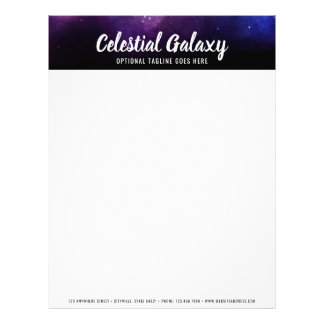 Galaxy Space Stars Ultra Violet Purple Nebula Letterhead