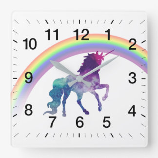 Galaxy Space Watercolor Unicorn and Pretty Rainbow Square Wall Clock