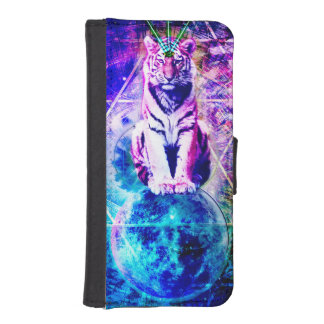 Galaxy tiger - pink tiger - 3d tiger - laser tiger iPhone SE/5/5s wallet case