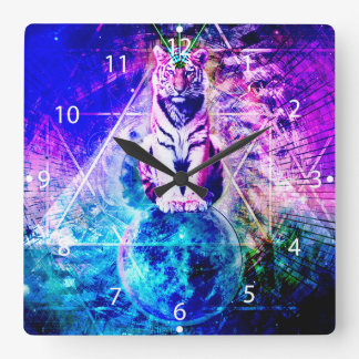 Galaxy tiger - pink tiger - 3d tiger - laser tiger square wall clock
