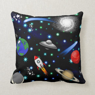 Galaxy Universe - Planets, Stars, Comets, Rockets Throw Pillow