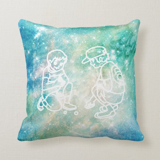 Galaxy Watercolor Boys Playing Marbels Doodles Throw Pillow