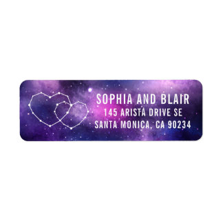 Galaxy Wedding Hearts Constellation Return Address