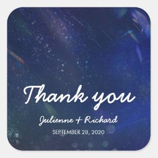 "Galaxy Wedding  ""Thank you"" | Written in the Stars Square Sticker"