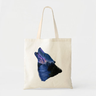 Galaxy Wolf night sky snow mountains Wild Nature Tote Bag